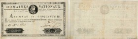 Country : FRANCE  Face Value : 50 Livres   Date : 31 août 1792  Period/Province/Bank : Assignats  Catalogue reference : Ass.32a  Alphabet - signatures...