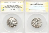 DANUBE REGION. Balkan Tribes. Imitating Alexander III the Great. Ca. 3rd-2nd centuries BC. AR tetradrachm (27mm, 11h). ANACS VF 35. Celtic issue imita...
