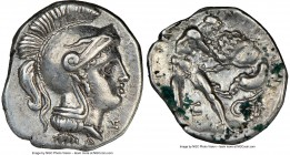 CALABRIA. Tarentum. Ca. 380-280 BC. AR diobol (12mm, 7h). NGC XF. Ca. 325-280 BC. Head of Athena right, wearing crested Attic helmet, Ξ below chin / T...