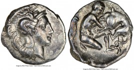 CALABRIA. Tarentum. Ca. 380-280 BC. AR diobol (12mm, 8h). NGC XF. Ca. 325-280 BC. Head of Athena right, wearing crested Attic helmet decorated with fi...