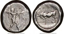 LUCANIA. Poseidonia. Ca. 470-420 BC. AR stater (18mm, 11h). NGC VF, brushed, flan flaw. ΠΟΣE, Poseidon striding right, nude but for chlamys spread acr...