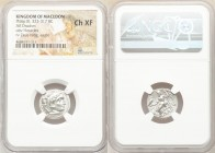 MACEDONIAN KINGDOM. Philip III Arrhidaeus (323-317 BC). AR drachm (18mm, 11h). NGC Choice XF. Colophon, ca. 323-319 BC. Head of Heracles right, wearin...