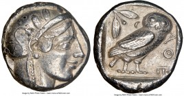 ATTICA. Athens. Ca. 455-440 BC. AR tetradrachm (22mm, 17.14 gm, 7h). NGC Choice XF 5/5 - 3/5. Early transitional issue. Head of Athena right, wearing ...