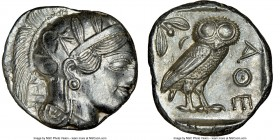ATTICA. Athens. Ca. 440-404 BC. AR tetradrachm (24mm, 17.21 gm, 3h). NGC MS 3/5 - 4/5. Mid-mass coinage issue. Head of Athena right, wearing crested A...