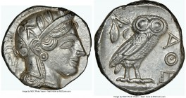 ATTICA. Athens. Ca. 440-404 BC. AR tetradrachm (25mm, 17.20 gm, 9h). NGC Choice AU 5/5 - 4/5. Mid-mass coinage issue. Head of Athena right, wearing cr...