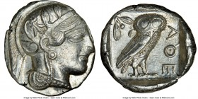 ATTICA. Athens. Ca. 440-404 BC. AR tetradrachm (25mm, 17.20 gm, 10h). NGC Choice AU 4/5 - 4/5. Mid-mass coinage issue. Head of Athena right, wearing c...