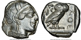 ATTICA. Athens. Ca. 440-404 BC. AR tetradrachm (24mm, 17.17 gm, 3h). NGC Choice AU 4/5 - 4/5. Mid-mass coinage issue. Head of Athena right, wearing cr...