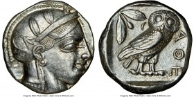 ATTICA. Athens. Ca. 440-404 BC. AR tetradrachm (23mm, 17.16 gm, 11h). NGC Choice AU 4/5 - 4/5. Mid-mass coinage issue. Head of Athena right, wearing c...