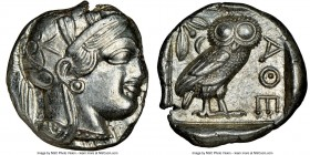 ATTICA. Athens. Ca. 440-404 BC. AR tetradrachm (24mm, 17.18 gm, 4h). NGC Choice AU 3/5 - 5/5. Mid-mass coinage issue. Head of Athena right, wearing cr...