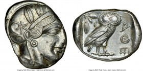 ATTICA. Athens. Ca. 440-404 BC. AR tetradrachm (25mm, 17.19 gm, 1h). NGC Choice AU 3/5 - 4/5. Mid-mass coinage issue. Head of Athena right, wearing cr...
