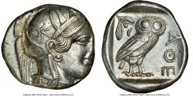 ATTICA. Athens. Ca. 440-404 BC. AR tetradrachm (25mm, 17.19 gm, 4h). NGC Choice AU 2/5 - 5/5. Mid-mass coinage issue. Head of Athena right, wearing cr...