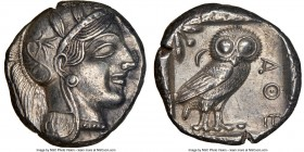 ATTICA. Athens. Ca. 440-404 BC. AR tetradrachm (24mm, 17.18 gm, 7h). NGC AU 5/5 - 4/5. Mid-mass coinage issue. Head of Athena right, wearing crested A...