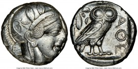 ATTICA. Athens. Ca. 440-404 BC. AR tetradrachm (22mm, 17.19 gm, 4h). NGC AU 3/5 - 4/5. Mid-mass coinage issue. Head of Athena right, wearing crested A...