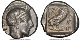 ATTICA. Athens. Ca. 440-404 BC. AR tetradrachm (26mm, 17.12 gm, 8h). NGC Choice XF 5/5 - 4/5. Mid-mass coinage issue. Head of Athena right, wearing cr...