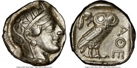 ATTICA. Athens. Ca. 440-404 BC. AR tetradrachm (24mm, 17.18 gm, 7h). NGC Choice XF 5/5 - 4/5. Mid-mass coinage issue. Head of Athena right, wearing cr...