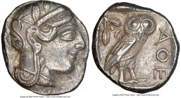 ATTICA. Athens. Ca. 440-404 BC. AR tetradrachm (24mm, 17.13 gm, 8h). NGC Choice XF 5/5 - 3/5. Mid-mass coinage issue. Head of Athena right, wearing cr...