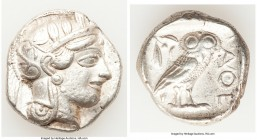 ATTICA. Athens. Ca. 440-404 BC. AR tetradrachm (25mm, 17.08 gm, 8h). VF. Mid-mass coinage issue. Head of Athena right, wearing crested Attic helmet or...