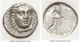 CARIAN SATRAPS. Maussollus (377-352 BC). AR drachm (14mm, 3.62 gm, 12h). VF, horn silver. Laureate head of Apollo facing, turned slightly right, hair ...