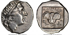 CARIAN ISLANDS. Rhodes. Ca. 88-84 BC. AR drachm (15mm, 12h). NGC AU. Plinthophoric standard, Menodorus, magistrate. Radiate head of Helios right / MHN...