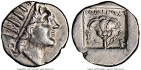 CARIAN ISLANDS. Rhodes. Ca. 88-84 BC. AR drachm (15mm, 11h). NGC AU. Plinthophoric standard, Nicagoras, magistrate. Radiate head of Helios right / NIK...