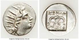 CARIAN ISLANDS. Rhodes. Ca. 88-84 BC. AR drachm (15mm, 1.78 gm, 1h). XF. Plinthophoric standard, Zenon, magistrate. Radiate head of Helios right / ZHN...