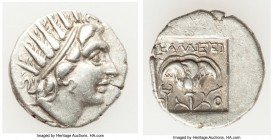 CARIAN ISLANDS. Rhodes. Ca. 88-84 BC. AR drachm (16mm, 2.08 gm, 12h). VF. Plinthophoric standard, Callixei(nos), magistrate. Radiate head of Helios ri...