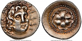 CARIAN ISLANDS. Rhodes. Ca. 84-30 BC. AR drachm (19mm, 4.08 gm, 12h). NGC AU S 5/5 - 5/5. Radiate head of Helios facing, turned slightly right, hair p...