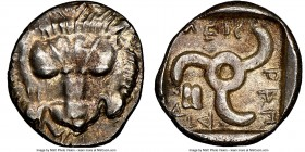 LYCIAN DYNASTS. Mithrapata (ca. 390-360 BC). AR sixth-stater (13mm, 10h). NGC Choice AU. Uncertain mint. Lion scalp facing / MEΘ-PAΠA-T-A, triskeles w...
