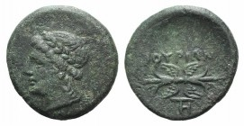 Southern Lucania, Thourioi, c. 280-213 BC. Æ (15mm, 2.62g, 12h). Laureate head of Apollo l. R/ Winged thunderbolt; monogram below. HNItaly 1927; SNG C...