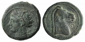 Carthaginian Domain, Sardinia, c. 264-241 BC. Æ (20mm, 5.20g, 7h). Wreathed head of Kore-Tanit l. R/ Head of horse r.; letter before. Piras 54; SNG Co...
