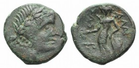 Sicily, Alaisa Archonidea, c. 208-186 BC. Æ (18mm, 4.87g, 12h). Laureate head of Apollo r. R/ Apollo standing l., holding laurel branch and leaning on...