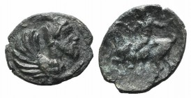 Sicily, Himera, c. 430 BC. AR Litra (11mm, 0.70g, 2h). Forepart of human-headed monster r. R/ Male riding goat l. SNG ANS 174; HGC 2, 450. Dark patina...