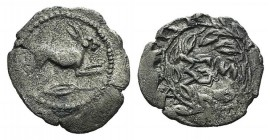 Sicily, Messana, c. 445-421 BC. AR Litra (13mm, 0.55g, 9h). Hare springing r.; olive leaf below. R/ MES within wreath. HGC 2, 814; cf. SNG Copenhagen ...