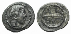 Sicily, Syracuse, c. 475-470. AR Litra (10mm, 0.51g). Diademed head of Arethusa r. R/ Wheel of four spokes. SNG ANS 116. Dark patina, Good VF