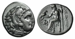 "Kings of Macedon, Alexander III ""the Great"" (336-323 BC). AR Drachm (17mm, 4.16g, 3h). Lampsakos, c. 310-301 BC. Head of Herakles r., wearing lion ski..."