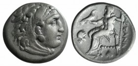 "Kings of Macedon, Alexander III ""the Great"" (336-323 BC). AR Drachm (17mm, 4.12g, 11h). Abydos (?), c. 310-301 BC. Head of Herakles r., wearing lion s..."