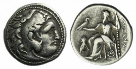 "Kings of Macedon, Alexander III ""the Great"" (336-323 BC). AR Drachm (17mm, 4.16g, 12h). Magnesia ad Meandrum, c. 301-299 BC. Head of Herakles r., wear..."