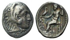 "Kings of Macedon, Alexander III ""the Great"" (336-323 BC). AR Drachm (17mm, 4.11g, 6h). Kolophon c. 310-301 BC. Head of Herakles r., wearing lion skin...."