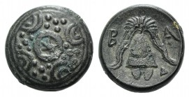 Kings of Macedon, temp. Alexander III – Kassander, c. 325-310 BC. Æ (14mm, 4.34g). Uncertain mint in Macedon. Macedonian shield with thunderbolt on bo...