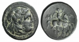 Kings of Macedon, Philip III (323-317 BC). Æ (15mm, 2.88g, 12h). Uncertain mint in Macedon. Head of Herakles r., wearing lion skin. R/ Horseman riding...