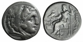 Kings of Macedon, Philip III (323-317 BC). AR Drachm (16mm, 4.11g, 12h). Kolophon, c. 322-319. Head of Herakles r., wearing lion skin R/ Zeus Aëtophor...