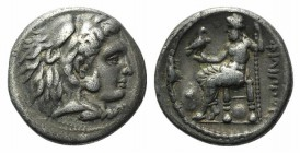Kings of Macedon, Philip III (323-317) AR Drachm (15mm, 4.01g, 12h). Miletos, c. 323-319 BC. Head of Herakles right, wearing lion skin. R/ Zeus Aëtoph...