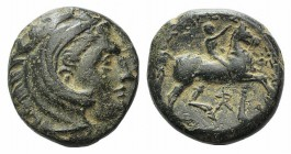 Kings of Macedon, Kassander (316-297 BC). Æ (18mm, 5.77g, 9h). Uncertain mint in Macedon, 306/5-297. Head of Herakles r., wearing lion skin. R/ Rider ...