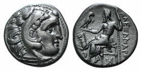 Kings of Thrace, Lysimachos (305-281 BC). AR Drachm (16mm, 3.97g, 12h). In the types of Alexander III of Macedon. Kolophon, c. 299/8-297/6 BC. Head of...
