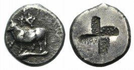 Thrace, Byzantion, c. 340-320 BC. AR Hemidrachm (11mm, 2.50g). Heifer standing l. on dolphin. R/ Quadripartite stippled incuse punch. SNG BM Black Sea...