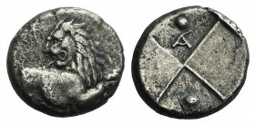 Thrace, Chersonesos, c. 386-338 BC. AR Hemidrachm (12mm, 2.14g). Forepart of lion r., head reverted. R/ Quadripartite incuse square with alternating r...