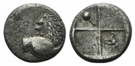 Thrace, Chersonesos, c. 386-338 BC. AR Hemidrachm (12mm, 2.22g). Forepart of lion r., head reverted. R/ Quadripartite incuse square with alternating r...