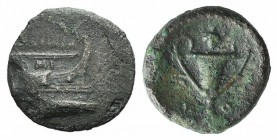 Korkyra, c. 300-229 BC. Æ (16mm, 2.91g, 7h). Prow of galley r. R/ Kantharos; grape bunch above. Cf. SNG Copenhagen 183-5. Green patina, near VF