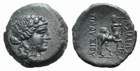 Kings of Bythinia, Prusias II (182-149 BC). Æ (20mm, 4.74g, 12h). Wreathed head of Dionysos r. R/ Centaur advancing r., playing lyre; monogram below r...