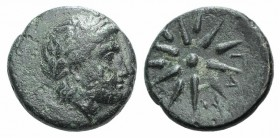 Mysia, Gambrion, after 350 BC. Æ (16mm, 4.10g). Laureate head of Apollo r. R/ Eight-rayed star. SNG BnF 908–21; SNG Copenhagen 146–9. Green patina, VF...